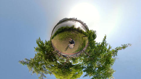 Little Planet View of Pathway in Ansan Hwarang Recreation Area 12 Live Action