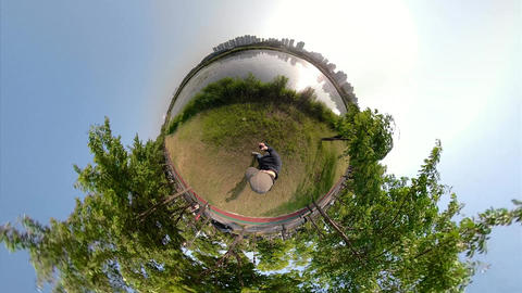 Little Planet View of Pathway in Ansan Hwarang Recreation Area 13 Live Action