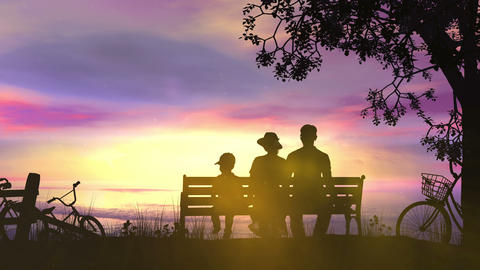 A couple during a bike ride rests facing the ocean Animation