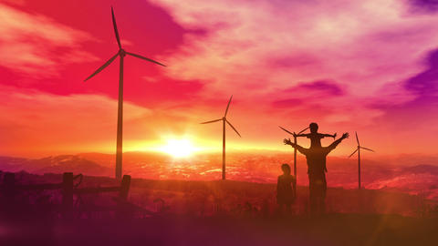 Father with children watching wind power plants Animation