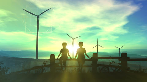 Children watching wind power plants and infographics Animation