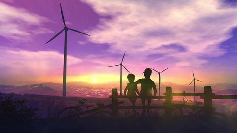 Children watch wind power plants Animation