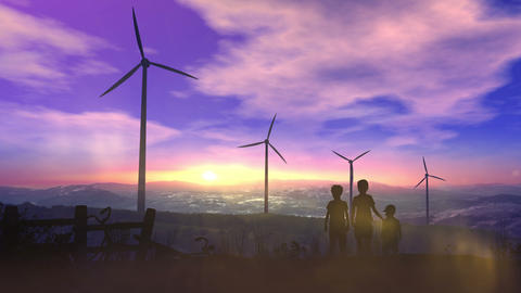 Children at sunset watching wind power plants Animation