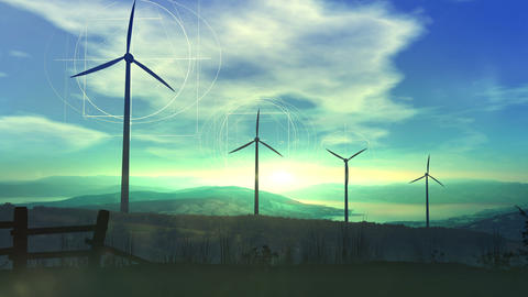 Wind power plants and green energy Animation