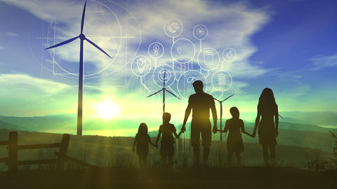 Family on the background of wind power plants and the energy of the future Animation