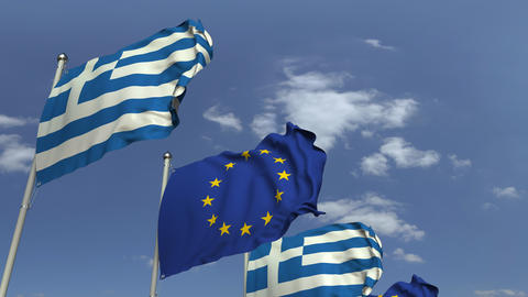 Many flags of Greece and the European Union EU, loopable 3D animation Footage