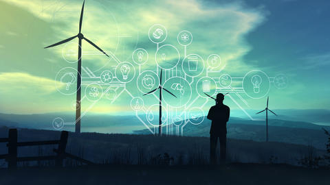 Electricity and Infographics of the Future Ecology Animation