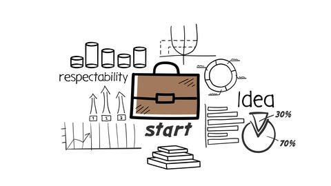 Document Briefcase and hand-drawn Infographics Animation