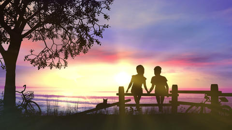 A boy and a girl hold hands against pink sunset Videos animados