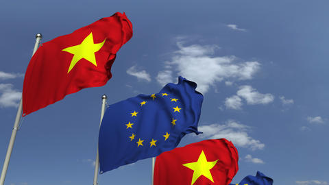 Flags of Vietnam and the European Union at international meeting, loopable 3D Footage