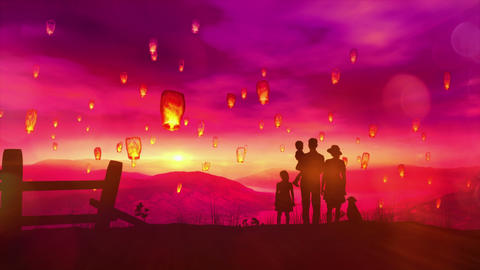The family launches a Chinese lantern at sunset Animation