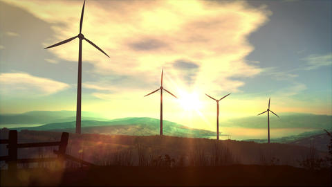 Wind power plants at sunset Animation