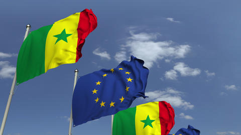 Many flags of Senegal and the European Union EU, loopable 3D animation Footage