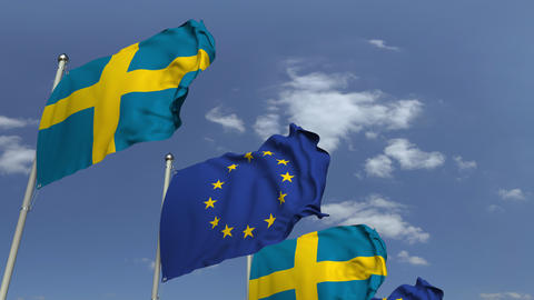 Many flags of Sweden and the European Union EU, loopable 3D animation Footage