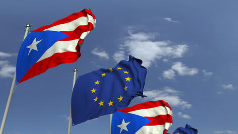 Waving flags of Puerto rico and the European Union EU, loopable 3D animation Footage