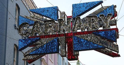 Carnaby Street London Union Jack 3D Flag Footage