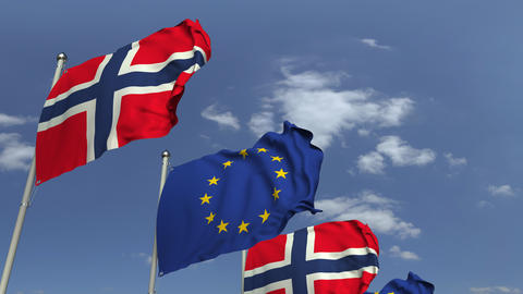 Flags of Norway and the European Union at international meeting, loopable 3D Footage