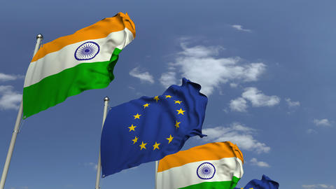 Row of waving flags of India and the European Union EU, loopable 3D animation Footage