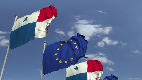 Row of waving flags of Panama and the European Union EU, loopable 3D animation Footage