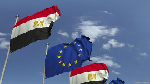 Flags of Egypt and the European Union against blue sky, loopable 3D animation Footage