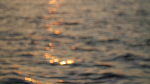 Out of focus, sun beam reflection on calm water surface in evening, golden hour Footage