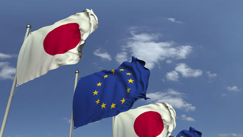 Many flags of Japan and the European Union EU, loopable 3D animation Footage