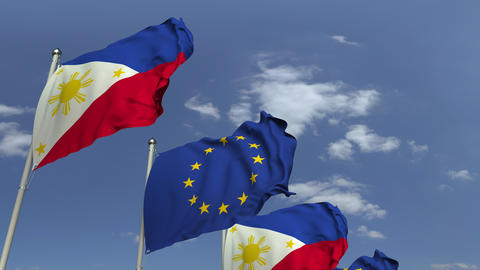 Waving flags of Philippines and the European Union EU, loopable 3D animation Footage
