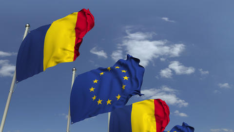 Flags of Romania and the European Union at international meeting, loopable 3D Footage