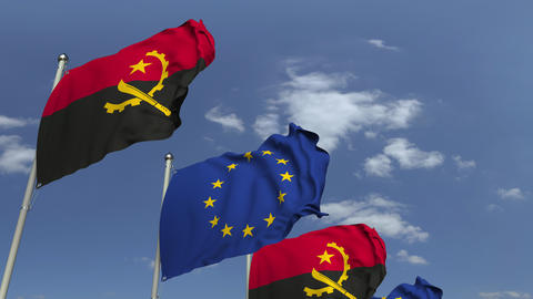 Waving flags of Angola and the European Union EU, loopable 3D animation Footage