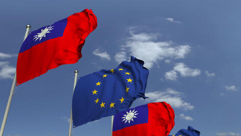 Row of waving flags of Taiwan and the European Union EU, loopable 3D animation Footage