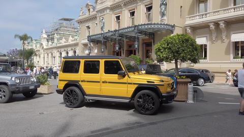 Yellow Mercedes Benz G 63 AMG In Monaco Footage