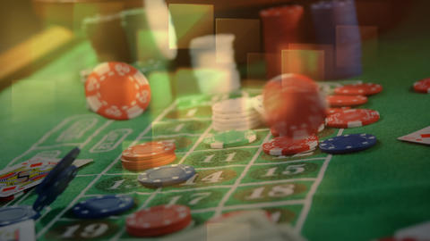 Game cards, chips, and cash falling on roulette table and squared lights on the foreground in casino Animation