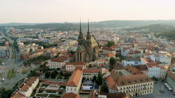 Brno Cityscape with Landmarks, Aerial View of Old Town in Czech Republic, Europe Footage