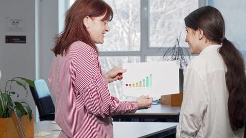 Rear view shot of two female colleagues discussing business graphics Live Action