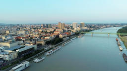 Bratislava Aerial Cityscape (Slovakia) over Danube River at Sunset Footage