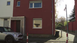 Three Story Apartment Building Rows on Small Street in Frankfurt Footage