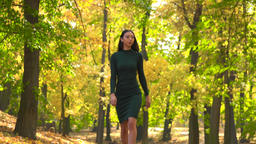A young Asian woman walks down a leaf-covered pathway through a park - front view from below Footage