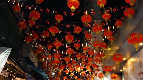 Chinese new year lanterns in china town Live Action