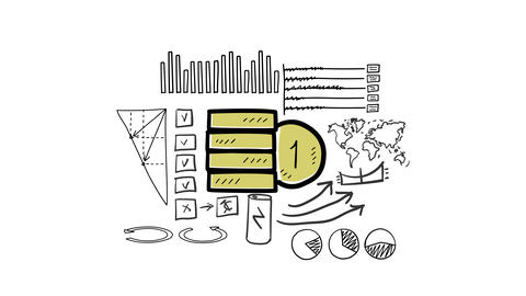 Coin icon and hand-drawn infographics Animation