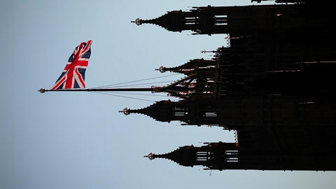 The United Kingdom Flag Over The Palace Of Westminster Live Action