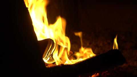 Horizontal panorama of burning wood in a stone oven Live Action