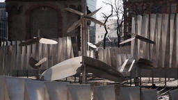 Metal Sculpture with Triangular Pillars and Geometrical Shapes Live Action