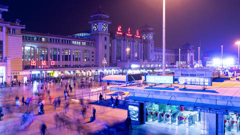 Night time lapse of the exterior of the Beijing Train Station Footage