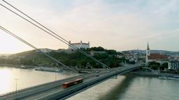 European Travel Destinations: Aerial Shot of Bratislava Cityline (Slovakia) Footage