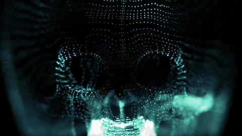 Skull 002: A spooky glowing blue skull made of particles Animation