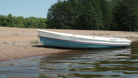 rowing boat on the beach Footage