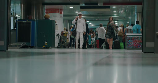 Women with Trolley Bags in the Airport Footage