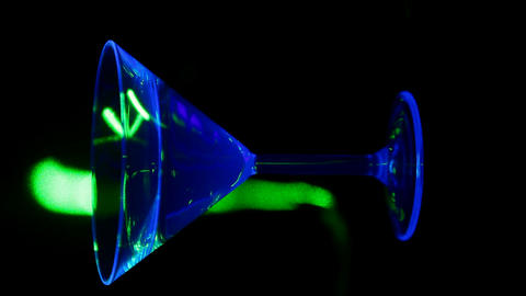 Glass lit with UV lights Footage