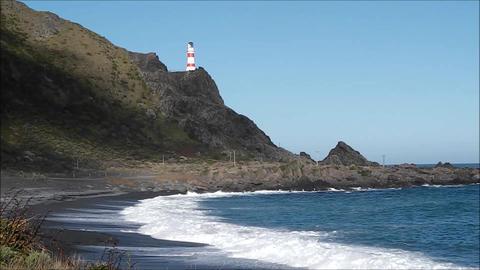 Cape Palliser Lighthouse stock footage