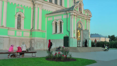 Entrance of Holy Trinity Cathedral. Diveevo.Russia Footage